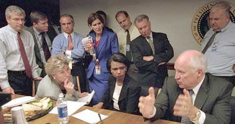 Dick Cheney in the White House bunker, speaking to administration officials including (from left) Joshua Bolten, Karen Hughes, Mary Matalin (standing), Condoleezza Rice and I. Lewis 'Scooter' Libby. Source: David Bohrer / White House