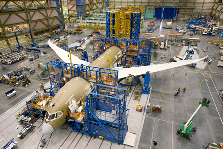 Final assembly of a 787 Dreamliner, made of 50 percent composite materials. Photo: Boeing